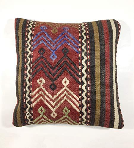 Kelim Kissen 40x40 cm Kissenbezug Orientalisch Handgefertigt Teppiche Kilim Kissenhülle aus Wolle Oushak Uschak Türkisch Handarbeit code 169