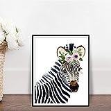 N / A Floral Zebra Set Cute Flower Safari Animal Wall Art Watercolor Woodland Nursery Decoration Poster Frameless 40X50cm