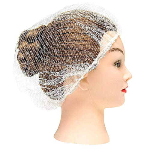 AMAZING White Nylon Hair Nets 24' in Bulk. Pack of 1000 Disposable Hairnets Caps with Elastic Edge Mesh. Stretchable Adult Hair Covers for Cooking, Food Service. Unisex, Heavyweight, Breathable.