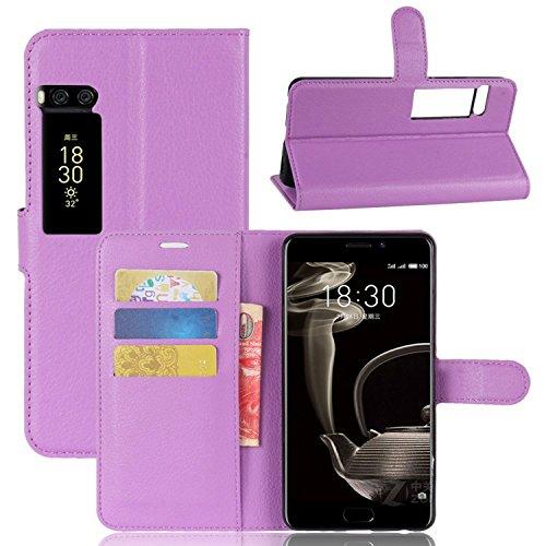 Ycloud Tasche für MeiZu Pro 7 Plus Hülle, PU Kunstleder Ledertasche Flip Cover Wallet Case Handyhülle mit Stand Function Credit Card Slots Bookstyle Purse Design lila