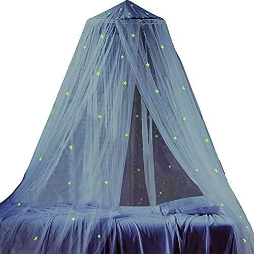 Large Bed Canopy with Glowing fluorescent stars - Hexagon fine mesh - Wide coverage areaLong - Diameter Flat ceiling - Fire Retardant Fabric - Anti Mosquito As Mosquito Net Use to Cover The Baby Bed,