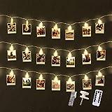 FABELTREU ® LED Foto Clips - LED Fotolichterkette 5 Meter - [40x] Foto Clips Zimmer Deko - Lichterkette Bilder für Innen, Wohnzimmer, Hochzeit, Schlafzimmer