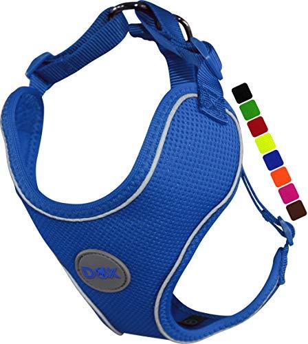 DDOXX Arnés Perro Air Mesh, Ajustable, Reflectante, Acolchado | Muchos Colores & Tamaños | para Perros Pequeño, Mediano y Grande | Accesorios Gato Cachorro | Azul, M