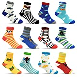 12 Pairs Toddler Non Skid Socks with Grips Anti Slip Bottom,...