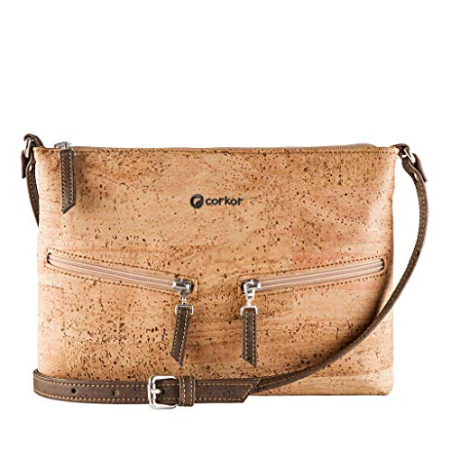 Corkor Travel Cross-Body Bag for Women - Front Pockets - Vegan Light Brown Cork from
