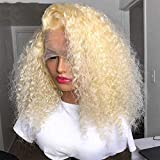 Carrotor 613 Lace Front Wig Human Hair Kinky Curly Human Hair Wigs 180% Density Full And Thick T Part Blonde Lace Front Wig(20inch)