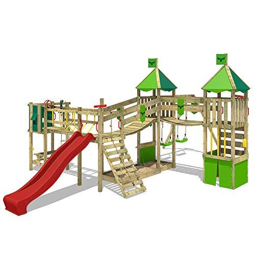 FATMOOSE Spielturm Klettergerüst FunnyFortress Free XXL mit Schaukel & roter Rutsche, Fettes Garten-Spielgerät mit Sandkasten, Kletterwand & viel Spiel-Zubehör