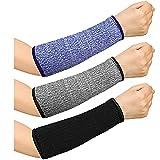 3 Pairs Cut Resistant Sleeve Arm Protection Sleeves, Level 5 Protection Safety Protective Sleeves Prevent Scrapes Sleeves for Men Women, 20 cm (Black, Purple, Grey)
