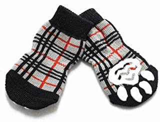 HUGGY BUDDY'S(ハギーバディーズ) チェックソックス ベージュ Mサイズ(犬用靴下 1足分4個セット) 【メール便発送】