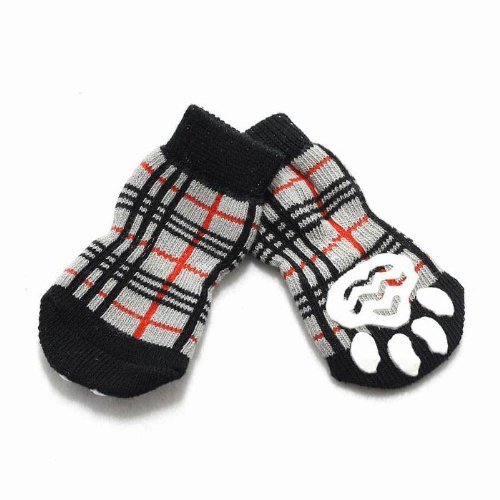 HUGGYBUDDY'S(ハギーバディーズ)チェックソックスベージュSサイズ(犬用靴下1足分4個セット)【メール便発送】