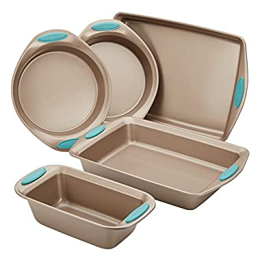 Rachael Ray Cucina Nonstick Bakeware 5-Piece Set, Latte Brown with Agave Blue Handle Grips