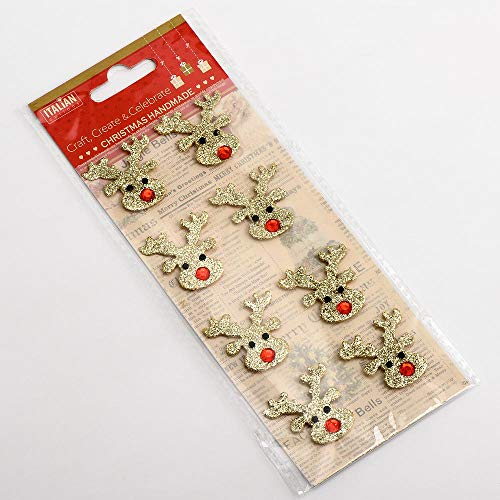 Gold Glitter Mini Reindeer Faces Christmas Craft Decorations (Pack of 8)