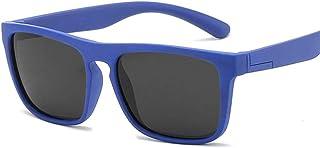 QPRER - Gafas De Sol,Azul Negro Rectángulo Silicona Clásico Niña IR De Compras Calle Gafas De Sol Verano Niños Diario Al Aire Libre Gafas Niño Seaside Party UV Cumpleaños Regalo del Día del Niño