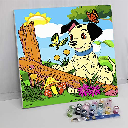 Framed Paint by Number Color Angel DIY Oil Acrylic Paint by Numbers for Adults Sized 12'X16' Painting on Canvas with Frame for Home Decoration (Lovely Dog)