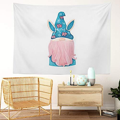 Y·JIANG Tapiz de gnomo de Pascua, gnomo de conejo de pascua, tomte escandinavo, elfo escandinavo, color azul, rosa, barba para el hogar, dormitorio, 203 x 152 cm