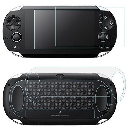 AFUNTA 2 Pack (4 piezas) de Vidrio Templado para Pantalla Frontal y HD Película de PET Transparente para la Parte Posterior, PS Vita PSV 1000 Accesorios de Película