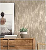 Blooming Wall Classic Plain Stripe Moonlight Forest Glittery Textured Wallpaper ,20.8 In32.8 Ft=57 Sq ft Per Roll (Taupe/Khaki/Gold)