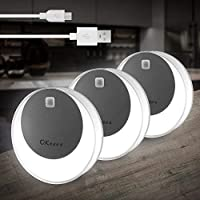 3-Pack OKeanu Motion Sensor 14 LED Cordless Rechargeable Night Light (White)