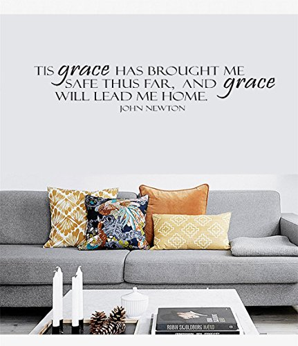 Wandsticker Grace Will Lead Me Home Vinyl Wall Statement Family DIY Decor Art Stickers Home Decor Wall Art for Kids Living Room Bedroom Bathroom Office Home Decoration
