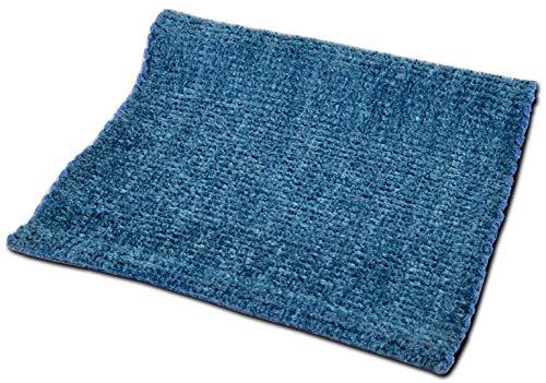 Cristina Carpets Vanity Tappeto Cotone, Lucido e Brillante per Bagno e Cucina, Antiscivolo e Lavabile (Blue, 50x80cm)
