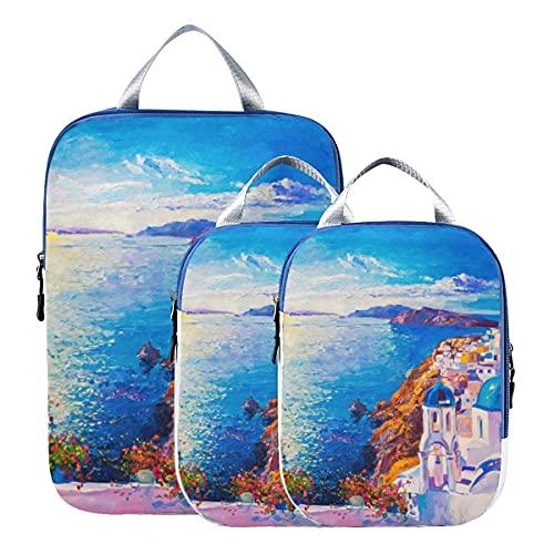 Organizer da viaggio colorato arte città paesaggio pittura a olio cubi da imballaggio per viaggio espandibile valigia organizer borse set per bagaglio a mano, viaggio (set di 3)
