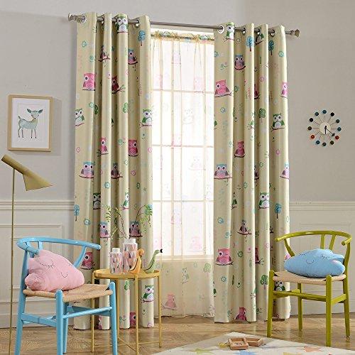 Melodieux Cartoon Owl Room Darkening Blackout Curtain 63 Inch Length for Kids Room Nursery Grommet Window Drape, 52
