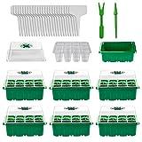 Herefun 6 Piezas Mini Invernadero Bandeja de Plántulas, 12 Células Bandejas de Cultivo de Semillas, Set de Iniciación de Semillas de Plantas con Etiquetas de Plantas, Mini Herramientas de Jardín
