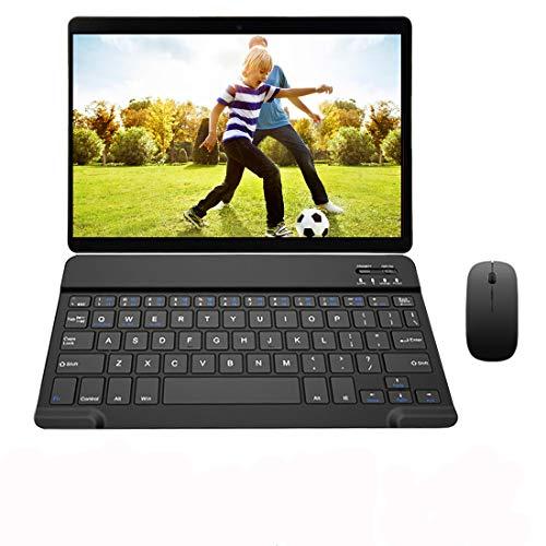 Tablet táctil de 10 pulgadas 4G LTE Android 9.0, 64 GB de memoria Octa-core 4 GB RAM Tablet con teclado Dual SIM/WiFi VOUKOU S9 (negro+teclado + ratón)