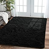 Comeet Soft Living Room Area Rugs for Bedroom Fluffy Rugs for Kids Room, Floor Modern Indoor Shaggy Plush Carpets, Home Decor Fuzzy Comfy Nursery Baby Boys Abstract Accent, Black Shag Rug 5x8 Feet