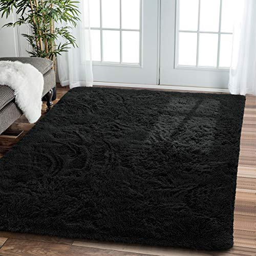 Comfortable Soft Shaggy Fur Fluffy Area Rugs - Modern Indoor Non-Slip Large Plush Furry Fur Accent Floor Rug for Livingroom Dorm Kids Bedroom Rug Home Decorative Carpet, 5x8 Feet, Black