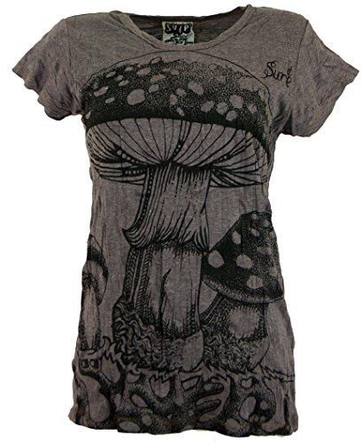 Guru-Shop Sure T-Shirt Fliegenpilz, Damen, Taupe, Baumwolle, Size:S (36), Bedrucktes Shirt Alternative Bekleidung