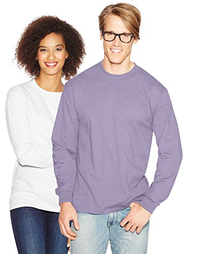 Hanes Adult Beefy-T Long-Sleeve T-Shirt 5186, 2XL, Lavender