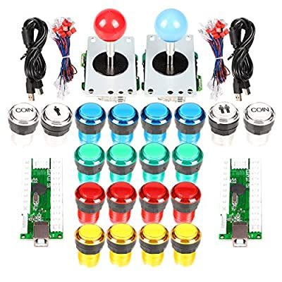 2 Player Arcade Stick DIY Kit USB Encoder to PC Joystick Games + 2x 5Pin Rocker + 16x 30mm 5V LED Lit Push Button 1 + 2 Players Coin Buttons For Raspberry Pi 1 2 3 3B Mame Fighting Stick