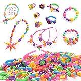 HellDoler Set di Perline Fai da Te per Bambini,400+ Pezzi Kit per la Creazione di Gioielli per Bambini,Perline a Incastro per Realizzare Collane,Bracciali,Anelli per Bambini