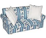 Miniatur Sofa / Couch mit 2 Kissen - für Puppenstube Maßstab 1:12 - blau & weiß gemustert -...