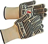 Extreme 932F Heat Resistant - Light Weight Flexible Kitchen Gloves - 100% Cotton Lining for Super Comfort - Black Silicone Stripes for Ultimate Grip - Versatile Than Oven Mitt, Potholders, 2 Gloves