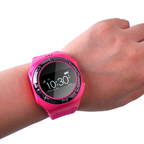 5ive GPS Locator Smart Watch Life Waterproof Positioning Intelligent Watch Phone with Bluetooth for Children or Old Man (Hot Pink)
