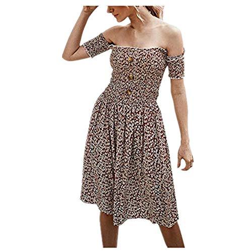 Briskorry kleider damen cocktailkleid Mode Blumendruck Schulterfrei Taste Beiläufig Sommerkleid Minikleid strandkleider abschlussball kleider sommer