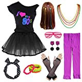 80's Party Girls Retro Costume Accessories Set for 1980s Theme Party Supplies (14-16, Black)