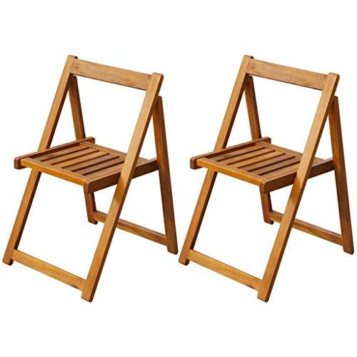Roderick Irving Lot de 2 chaises de jardin pliantes en bois d'acacia