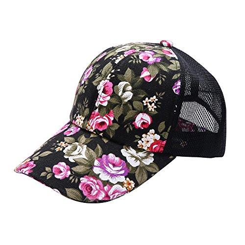 Riiya 2019 Womens Flowers Baseball Cap Lady Fashion Sun Hat for Hiking Climbing Jogging Black