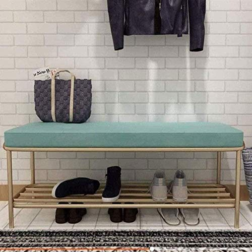 Cambio sencillo forjado zapato banco de hierro zapatero Con asiento acolchado entrada de zapatos Zapatos de banco Tienda de ropa de prueba de heces Sofá Taburete cambiar zapatos ( Color : Green )