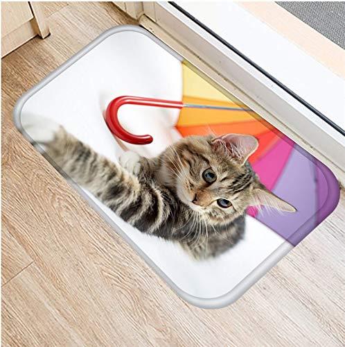 HLXX Lindo Gato Animales patrón Antideslizante Alfombra de Gamuza Felpudo Felpudo Cocina al Aire Libre Sala de Estar Alfombra Alfombra A8 40x60cm