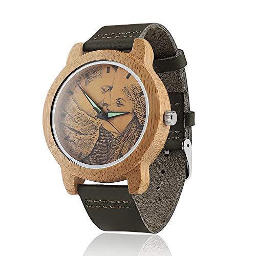 Relojes Personalizados con Foto Relojes de Pulsera de Madera para Hombre Mujer