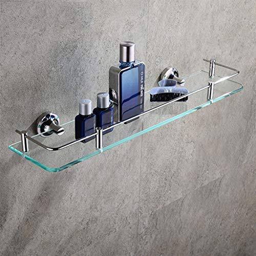 Shi xiang shop Estantes flotantes de baño de Vidrio Templado, Estante de Vidrio de Acero Inoxidable con baranda, Accesorios de baño de Mesa cosmética