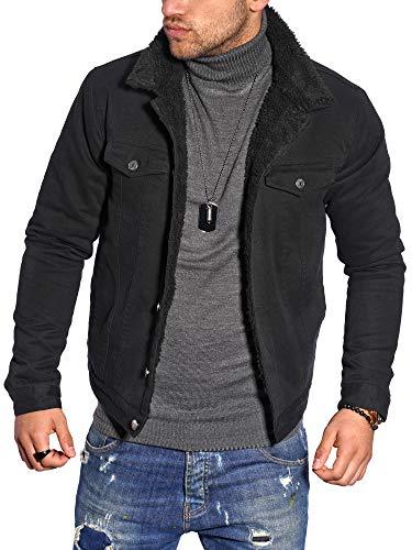 behype. Herren Jacke Gefüttert Übergangs-Jacke Trucker-Jacke Jeans-Jacke Cord-Jacke 1008 Schwarz (MJ-MIN) L