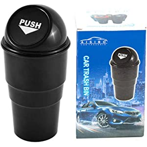 YIOVVOM Vehicle Automotive Cup Holder Garbage Can Small Mini Trash Bin Car Trash Garbage Can for Car Universal Organizer Waterproof Leak Proof