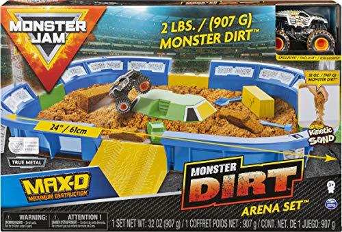 Monster Jam 6046704 - MonsterDirt Arena, riesiges Spielset mit Monster Dirt - Sand und exklusivem Monster Jam Truck (Maßstab 1:64)