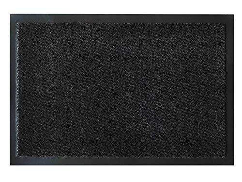 Primaflor - Ideen in Textil Fußmatte Schmutzfang-Matte Leyla – Anthrazit, 90 x 120 cm, Waschbare, rutschfeste, Pflegeleichte Eingangsmatte, Sauberlauf-Matte, Türvorleger für Innen & Außen
