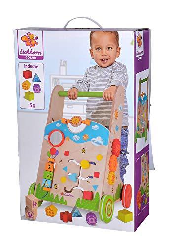 Eichhorn 100002253 - Carrito para aprender a andar, 6 piezas, juego de clasificación, juego giratorio, juego de montaje y 5 piezas de construcción 33,5 x 32 x 51 cm, madera de abedul